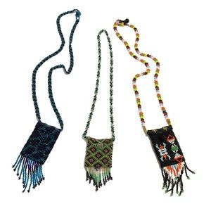 Bundle Three Seed Beads Pouch Necklaces